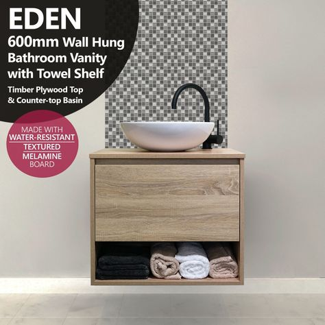 Eden 600mm White Oak Timber Wood Grain Wall Hung Vanity With