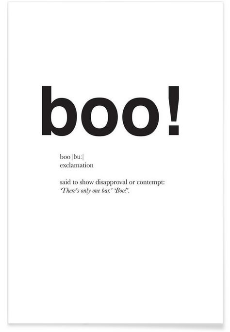 The boo interjection as Premium Poster by Matěj Kašpar Jirásek | JUNIQE