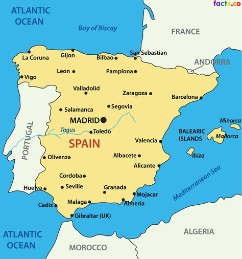 Map Of Spain With Cities Pinterest