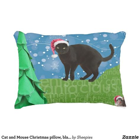 Cat and Mouse Christmas pillow, black
