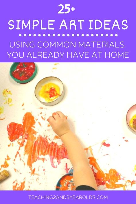 25+ Art activities that can easily be done at home using simple materials you probably already have on hand. Keeps kids busy so you can get other things done! #art #home #activities #parents #homeschool #easy #crafts #simple #toddlers #preschool #teaching2and3yearolds