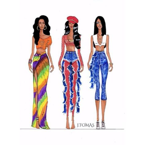 Aaliyahs outfits for her video Rock The Boat