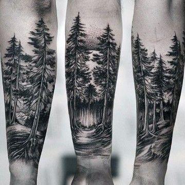 Tatuajes de pinos en el brazo