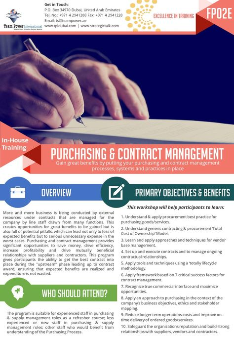 Purchasing \ Contract Management In-house Training Contract - contract management