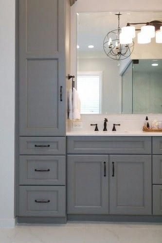 Gray Bathroom Vanity With Towers And Drawers For Storage In Bathroom Remodeled By Kbf Desi With Images Guest Bathroom Remodel Bathroom Design Small Bathroom Remodel Master