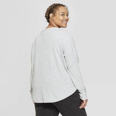 0b1f66daa44 Women s Plus Size Long Sleeve Waffle Button-Up Lounge Sweatshirt - Colsie  Gray 3X