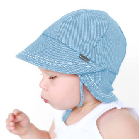 Toddler Boys Beanie Flat Cap Hat Blue Chambray Spring Easter Summer New
