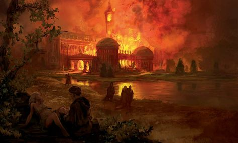 Summerhall castle is consumed by fire as newborn Prince Rhaegar Targaryen takes his first breaths - by Marc Simonetti