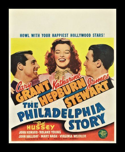The Philadelphia Story with Cary Grant, Audrey Hepburn and James Stewart, classic movie poster wall art, giclee print and framed in USA by MUSEUM OUTLETS