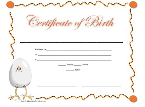 blank birth certificate for school project