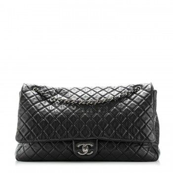 Chanel Calfskin Quilted Xxl Travel Flap Bag Black Chanel Handbags Burberry Bag Shopping Chanel