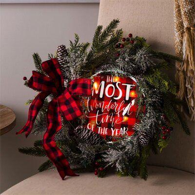 Evergreen Enterprises Inc Plaid 18 Lighted Wreath Led Christmas Tree Evergreen Enterprises Wholesale Wreaths