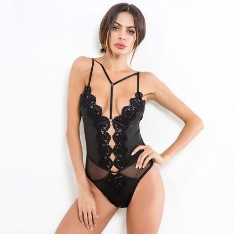 strappy lace embroidery patchwork lingerie bodysuit – Lupsona