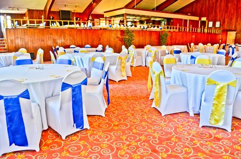 yellow spandex chair sashes revolving handle white covers royal blue satin