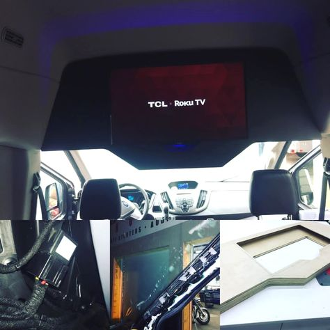 2015 Ford Transit With A 32 Led Tv Installed In Overhead Console A Power Inverter Was Installed Under The Passenge Ford Transit Tinted Windows Gaming Station
