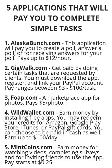 5 APPLICATIONS THAT WILL PAY YOU TO COMPLETE SIMPLE TASKS