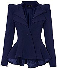 Women's Double Notch Lapel Sharp Shoulder Pad Ruffled Fit-and-flare Black Asymmetry Drip Blazer Suit: Clothing