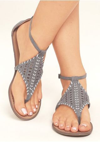 Solid Ankle Strap Flat Sandals   Ankle