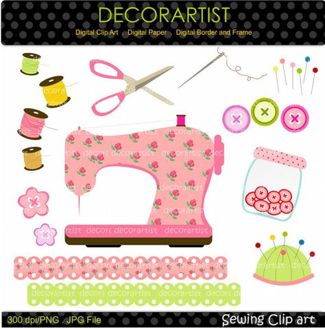 Sewing clip art sewing machine craft digital clip by decorartist, $5.00