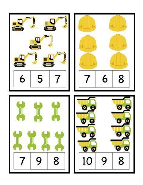 Construction Math Worksheets Preschool Printables Construction Printables Counting In 2020 Preschool Construction Construction Theme Preschool Transportation Preschool
