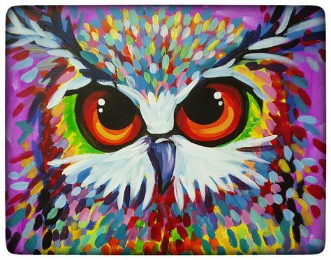 Paint and vino owl art, giraffe art, wine painting, painting canvas, painti