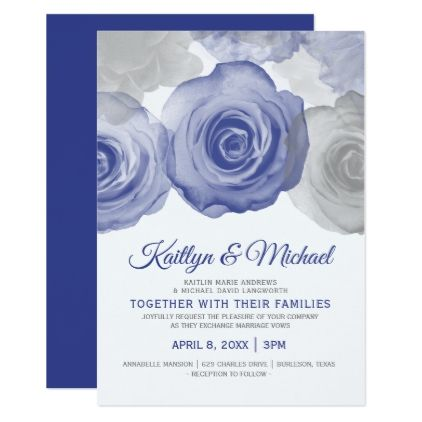 Watercolor Wedding Invitation Royal Blue Zazzle Com Watercolor Wedding Invitations Purple Wedding Invitations Flower Wedding Invitation