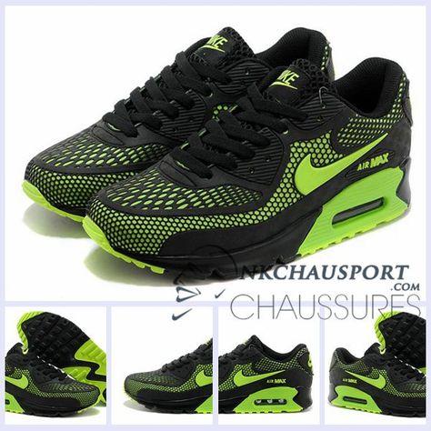 super popular f5604 72080 Nike Air Max 90 2016   Meilleur Chaussures Running Homme Mesh Noir Vert