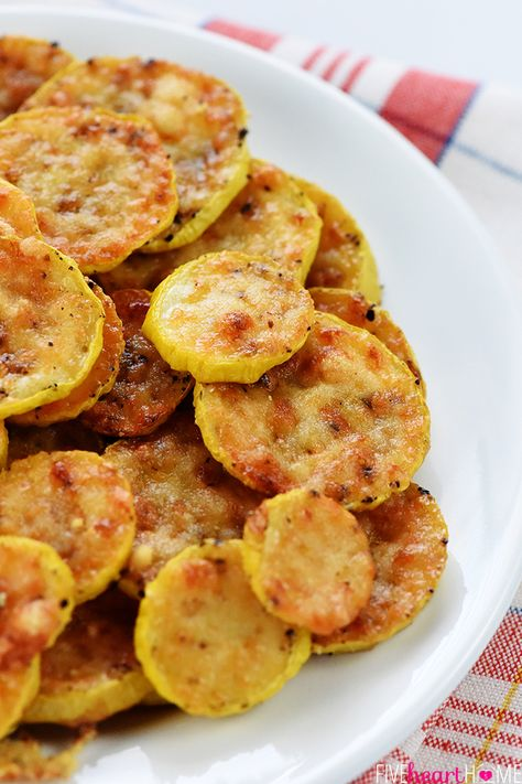 Baked Parmesan Yellow Squash Rounds are an easy and delicious summer side dish requiring just two ingredients: yellow squash and grated Parmesan! One of my most popular recipes every summer is my Baked Parmesan Zucchini Rounds and this summer has been no exception, as that recipe had enjoyed some viral traffic in recent weeks. On one hand, it makes me laugh, because that recipe is SO easy (only 2 ingredients!) that it almost doesn't qualify as a recipe and I almost never posted it. On the other