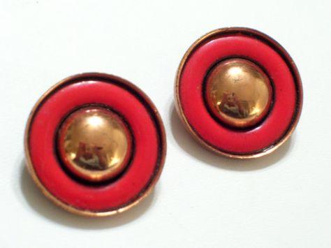 Matisse Earrings Vintage MATISSE RENOIR  Red by TheCopperCat