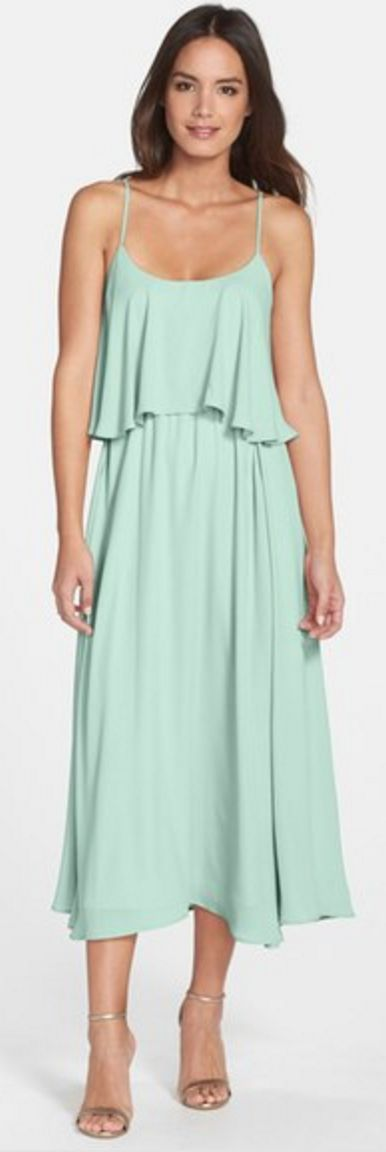 Dusty Aqua Ruffle-Top Tea Length Summer Dress
