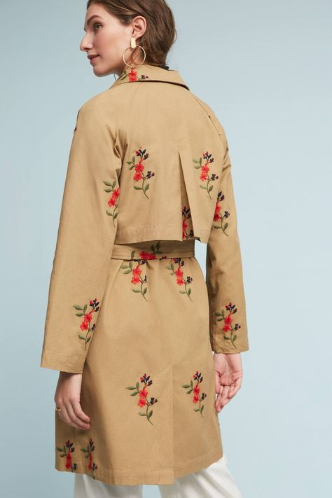 NWT Anthropologie Embroidered Floral Trench Coat Utility Jacket by Cartonnier M