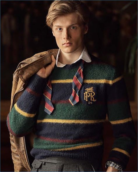 Hugh Laughton-Scott dons a striped sweater, polo, and bow-tie from POLO Ralph Lauren.