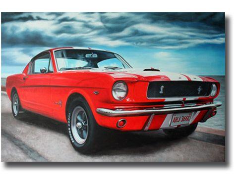 Fahrzeug Gemälde Ford Mustang 1965