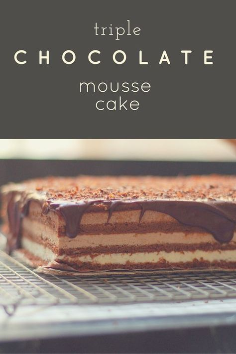 Triple Chocolate Mousse Cake. Ethereally light and intensely chocolatey. Takes three days to make, but totally worth it. From Blossom To Stem   Because Delicious http://www.blossomtostem.net