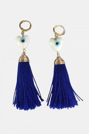 nuevo concepto 338fc 5efef Aretes Largos de Mota para Mujer en Color Azul. Si quieres ...