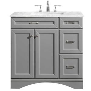 Roswell Catania 36 In W X 22 In D X 35 In H Vanity In Grey With Marble Vanity Top In White With Basin 715036 Gr Ca Nm With Images Marble Vanity Tops Vanity Top