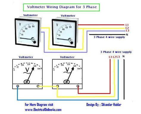 2 phase electrical wiring diagram general electric induction motor of panel voltmeter for 3 voltage measuring