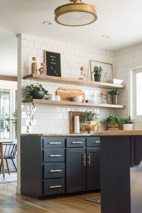 New and Old Looking Modern Kitchen Renovation Styles. Small kitchen design with black wood cabinet. – White N Black Kitchen Cabinets Rustic Kitchen, Kitchen Remodel Small, Kitchen Shelves, Open Kitchen Shelves, Kitchen Decor Modern, Home Decor Kitchen, Decorating Above Kitchen Cabinets, Home Decor, Kitchen Style