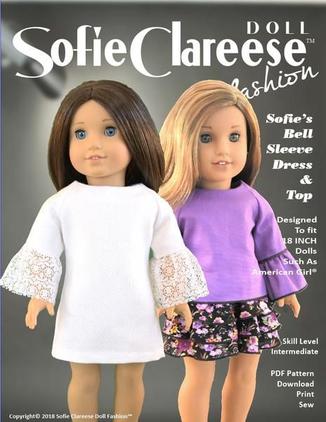 Awe Inspiring Sofies Bell Sleeve Dress Top 18 Doll Clothes Pattern Download Free Architecture Designs Scobabritishbridgeorg