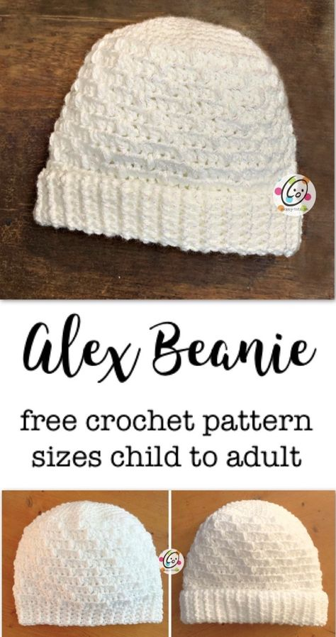 Alex Beanie for Cancer Challenge 2019 ~ Snappy Tots Crochet Baby, Free Crochet, Knit Crochet, Crocheted Hats, Crochet Crafts, Crochet Projects, Knitting Patterns, Crochet Patterns, Hat Patterns