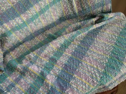Nubby Cotton Baby Blanket Teal White Blue Cotton Baby Blankets Hand Weaving Blanket