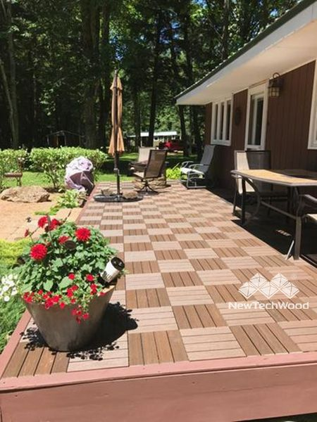 Checkerboard Style Deck Tile 12 X 12 Interlocking Ultrashield Deck Tiles Deck Tile Cool Deck Patio