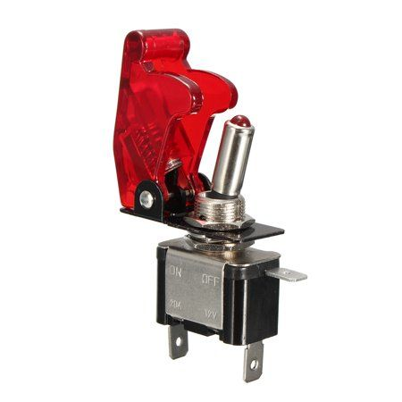 DIY 12V 20A Red Cover LED Light Rocker Toggle Switch SPST ON//OFF Car Motor Sales