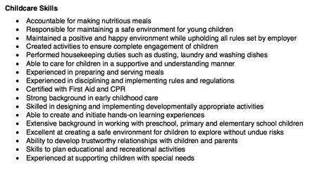 skills for child care resume