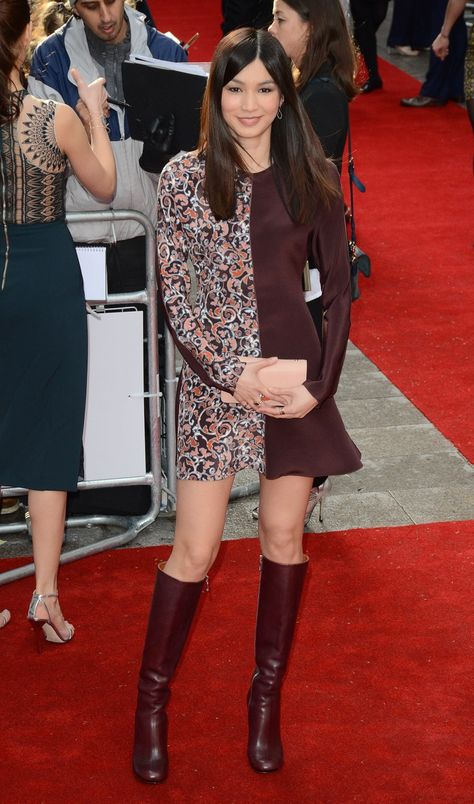 Gemma Chan opted for a two-toned Mulberry long sleeve dress. Photo: Landmark / PR Photos