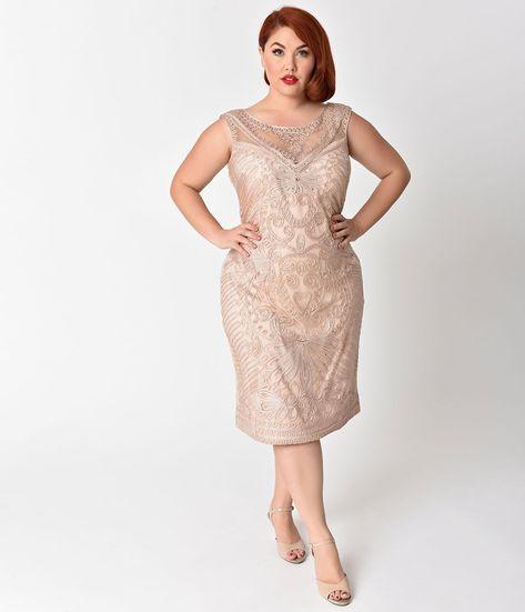 eaacea94d2c Plus Size Champagne Embroidered   Beaded V-Neck Mesh Cocktail Dress –  Unique Vintage