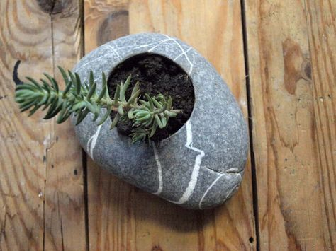 flowerpot - miniature flowerplater - candleholder - sea pebble - oval