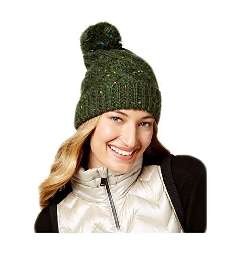 Steve Madden Womens Speckled Cable Beanie Hat Black