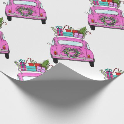 Car Christmas Gift 2020 Pink Car with Christmas Gifts Wrapping Paper | Zazzle.in 2020