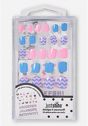 Just Shine Design It Yourself Press On Nails 24 Piece Nails For Kids Press On Nails Fake Nails For Kids